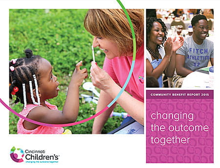 PDF of Community Benefit 2015 report for Cincinnati Children's.