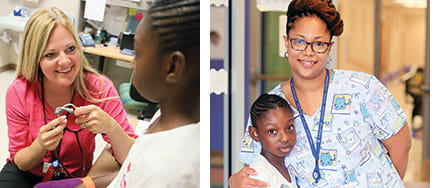 Tianna Taylor visits with nurses Melissa McCray (left) and Felicia Pleasant at the school-based health center.