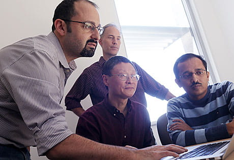 From left: Drs. Nathan Salomonis, Jun Ma, Peter White and Anil Jegga.