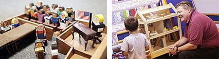 Toys like this wooden courtroom set help therapists prepare kids for difficult and potentially scary experiences. Right:  Clinical counselor Thomas Volker observes a child in a therapy session.
