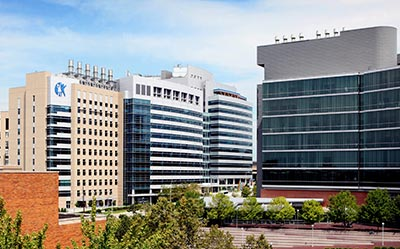 Photo of the Cincinnati Children's research buildings (S &T) and the UC medical center building.