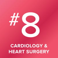Cardiology and Heart Surgery program ranked number 8 in the nation.