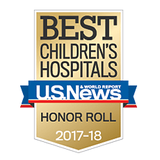 U.S. News & World Report honor roll badge for best children's hospitals.