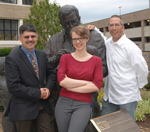 Current trainee Anastassia Tselikova pictured with Tim LeCras, PhD, Associate Director of Admissions for the MSTP program (left) and David Hildeman, PhD-Director, Immunology Graduate Program (right).