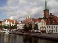 A view of the city of Lübeck, Germany, with the spires of the Church of St. Mary, center, and St. Peter's Church.