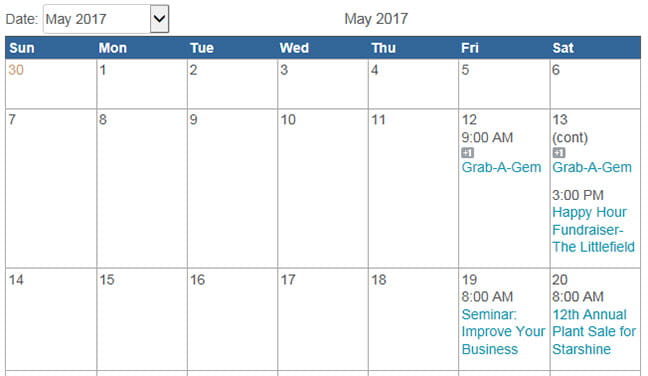 The May 2017 Giving Calendar.