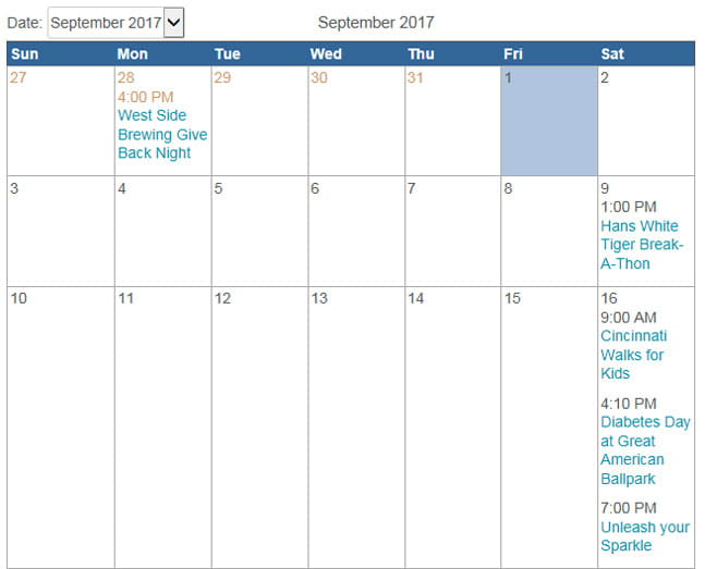 Giving calendar - September 2017.