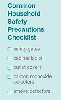 Common household safety precautions checklist.