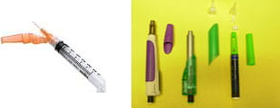 Vial with syringe and safety needle (left) OR pen device (right).