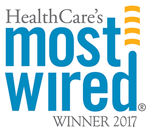 A logo for the 2017 most wired hospitals.