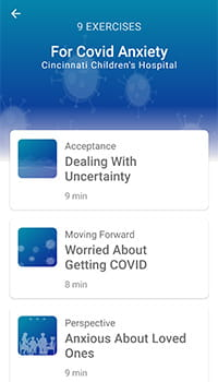An image of the Covid Anxiety app.