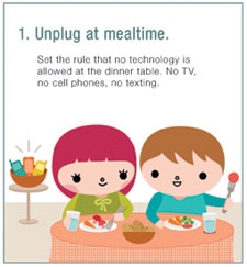 Unplugging at mealtime is one of six suggestions offered by Cincinnati Children's pediatricians.