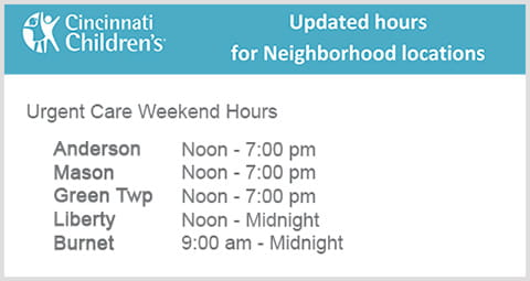 Updated urgent care weekend hours for our neighborhood locations.