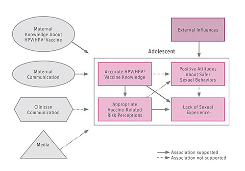 Fig A:  This diagram demonstrates the factors that affect accurate adolescent knowledge about human papilloma virus (HPV), the HPV vaccine, and vaccine-related risk perceptions.