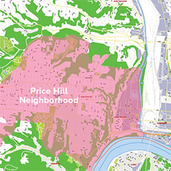 An image showing the Price Hill Neighborhood in Cincinnati.