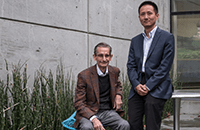 A photo of Louis Muglia, MD, PhD and Ge Zhang, MD, PhD.