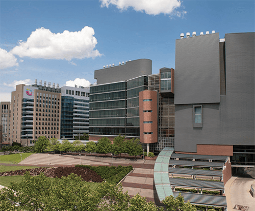 A photo of Cincinnati Children's and UC College of Medicine.