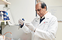 An image of a male researcher working in the lab.