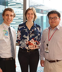 Three new faculty members in biomedical informatics. Pictured from left are Kevin Dufendach, MD, Emily Miraldi, PhD, and Danny T. Y. Wu, PhD.