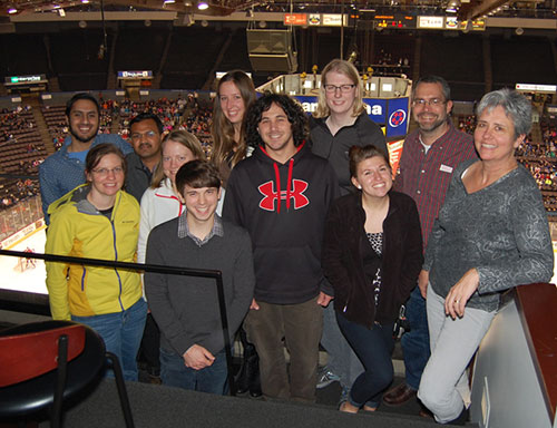 Herr Lab at a hockey game.