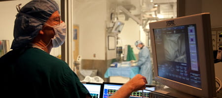 We perform diagnostic and therapeutic catheterization in a new hybrid catheterization suite.