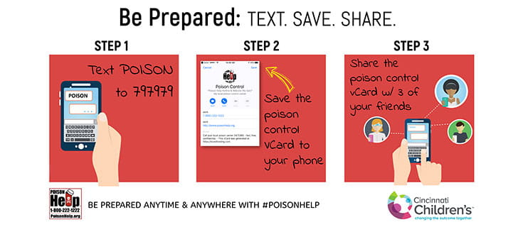 Text POISON to 797979 to add poison control as a contact in your mobile phone.