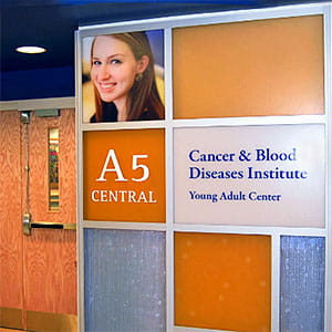 Interior view of the Adolescent and Young Adult Cancer Center.