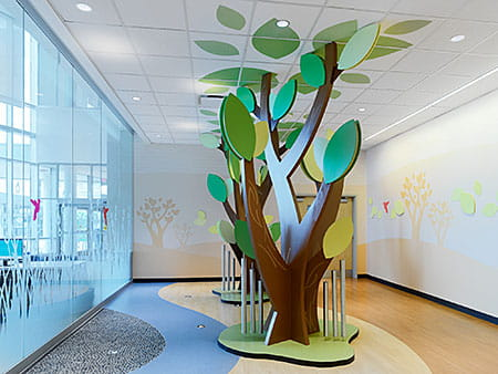 The interior of the Proton Therapy Center at Cincinnati Children's is bright and cheerful.