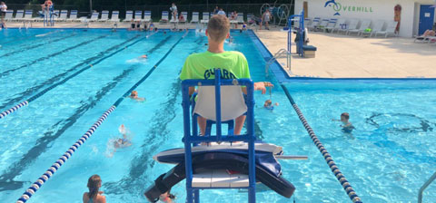 Anthony in his lifeguard chair.